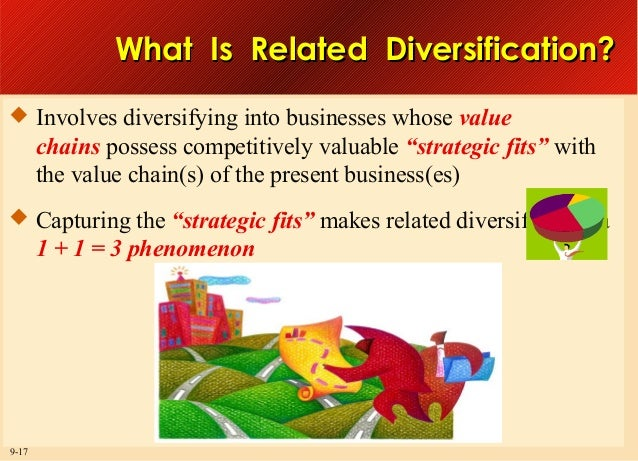 What Is Related Diversification?  Involves diversifying into businesses whose value  chains possess competitively valuabl...
