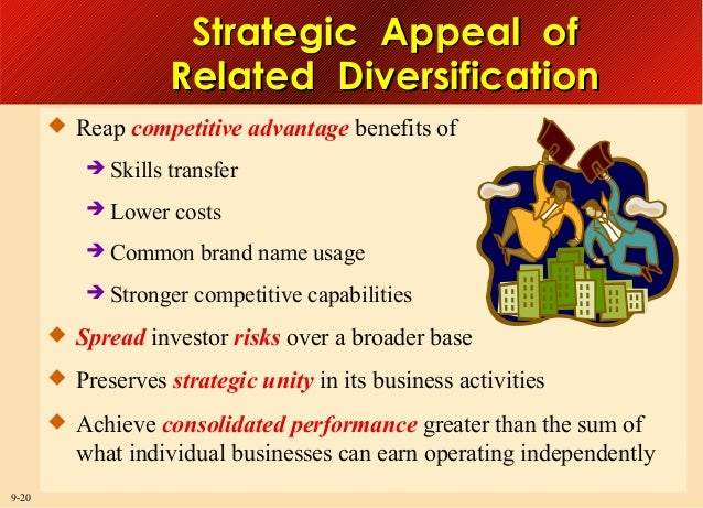 Strategic Appeal of Related Diversification  Reap competitive advantage benefits of   Skills transfer    Lower costs  ...