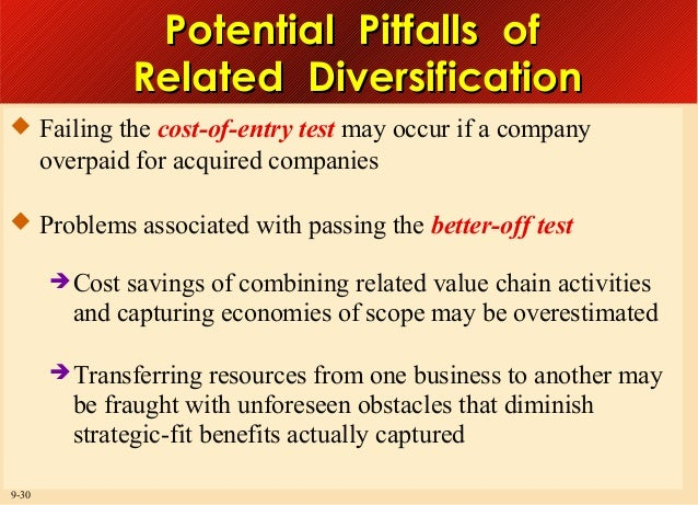 Potential Pitfalls of Related Diversification  Failing the cost-of-entry test may occur if a company  overpaid for acquir...