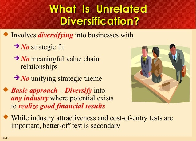 What Is Unrelated Diversification?  Involves diversifying into businesses with  No  strategic fit   No  meaningful valu...