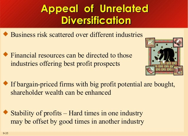 Appeal of Unrelated Diversification  Business risk scattered over different industries  Financial resources can be direc...
