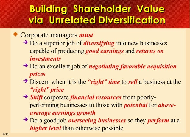 Building Shareholder Value via Unrelated Diversification  Corporate managers must  Do a superior job of diversifying into...