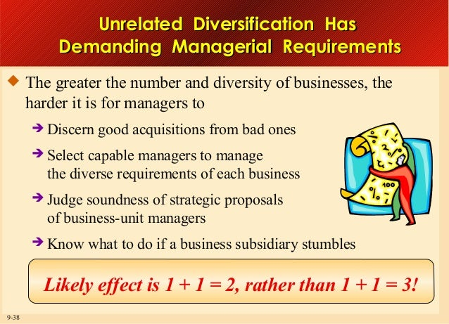 Unrelated Diversification Has Demanding Managerial Requirements  The greater the number and diversity of businesses, the ...