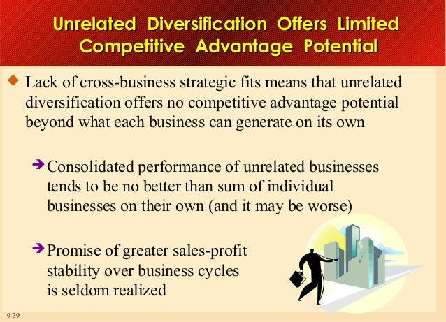 Unrelated Diversification Offers Limited Competitive Advantage Potential  Lack of cross-business strategic fits means tha...