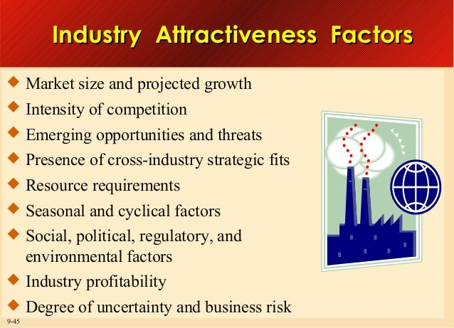 Industry Attractiveness Factors  Market size and projected growth  Intensity of competition  Emerging opportunities and...