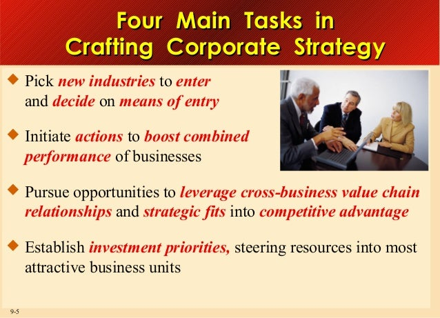 Four Main Tasks in Crafting Corporate Strategy  Pick new industries to enter  and decide on means of entry  Initiate act...