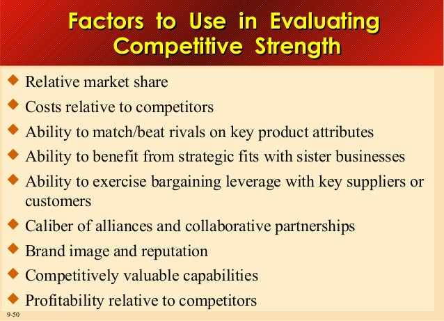 Factors to Use in Evaluating Competitive Strength  Relative market share  Costs relative to competitors  Ability to mat...
