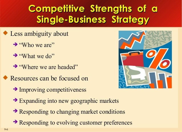 """Competitive Strengths of a Single-Business Strategy  Less ambiguity about  """"Who  we are""""   """"What  we do""""   """"Where  we ..."""