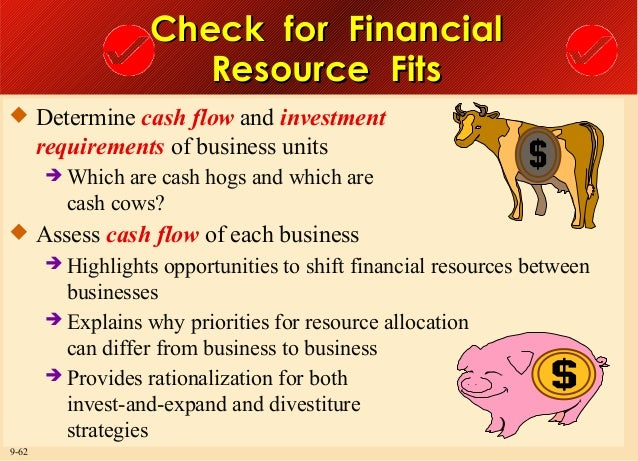 Check for Financial Resource Fits  Determine cash flow and investment  requirements of business units  Which  are cash h...