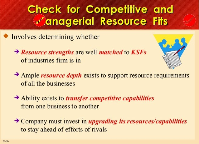 Check for Competitive and Managerial Resource Fits  Involves determining whether  Resource  strengths are well matched t...