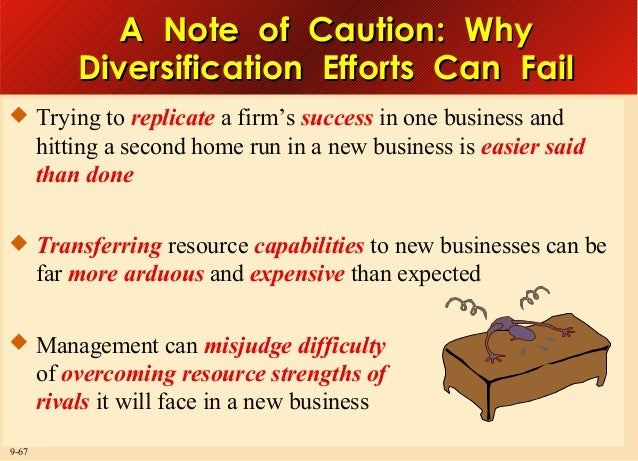 A Note of Caution: Why Diversification Efforts Can Fail  Trying to replicate a firm's success in one business and  hittin...