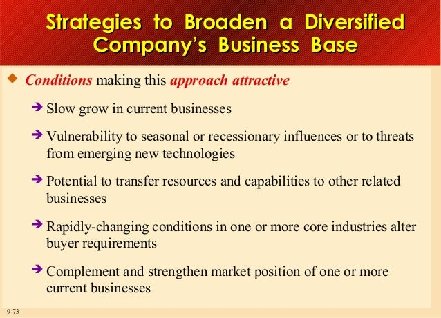 Strategies to Broaden a Diversified Company's Business Base  Conditions making this approach attractive    Vulnerabilit...