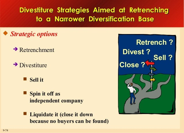 Divestiture Strategies Aimed at Retrenching to a Narrower Diversification Base  Strategic options  Retrenchment  Divest...