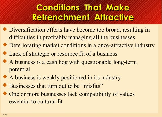 Conditions That Make Retrenchment Attractive  Diversification efforts have become too broad, resulting in  difficulties i...