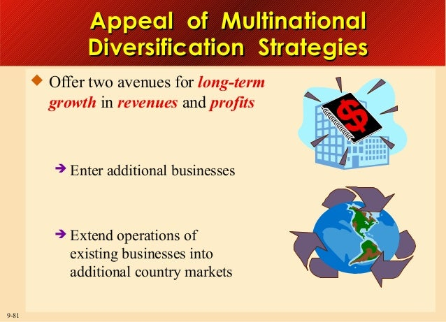 Appeal of Multinational Diversification Strategies  Offer two avenues for long-term  growth in revenues and profits   En...