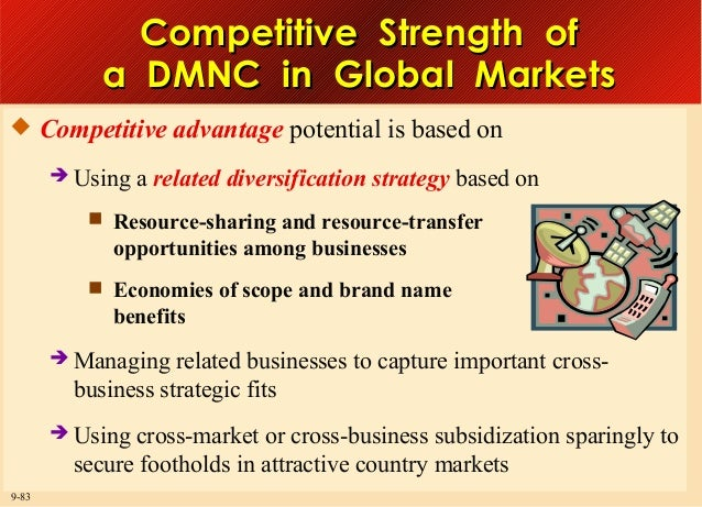 Competitive Strength of a DMNC in Global Markets  Competitive advantage potential is based on  Using  a related diversif...