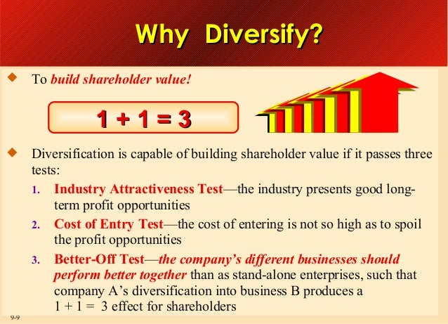 Why Diversify?   To build shareholder value!  1+1=3   9-9  Diversification is capable of building shareholder value if i...