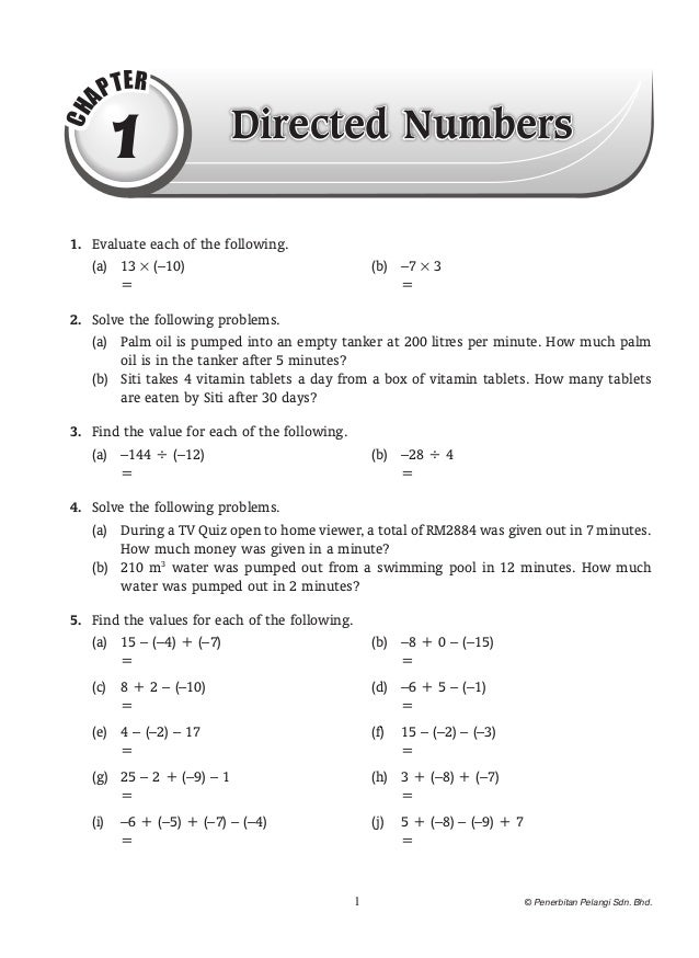 T ER     AP      1                   Directed NumbersCH 1. Evaluate each of the following.      (a) 13 × (–10)        ...