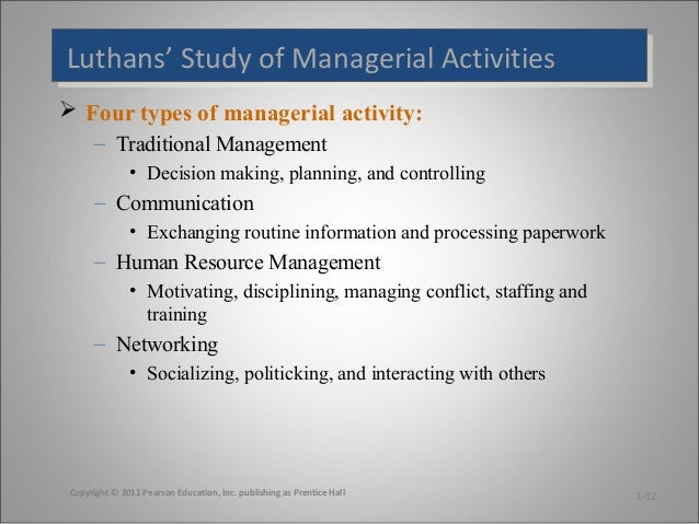 luthans study of managerial activities Managerial behaviour performance and effectiveness, mc  luthans, f –  organisational behaviour, 6th  an observation study of managerial activities.