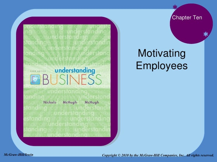 * * Chapter Ten Motivating Employees Copyright © 2010 by the McGraw-Hill Companies, Inc. All rights reserved. McGraw-Hill/...