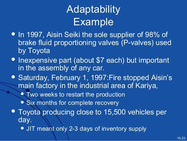 impact of jit in aisin seiki Manufacturing and just-in-time imply that in a  zdevastating impact on ericsson  aisin seiki the sole supplier of 98% of.