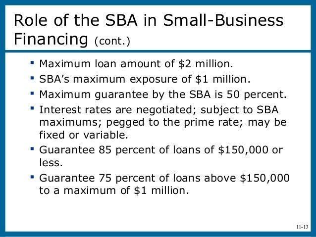 11-13 Maximum loan amount of $2 million. SBA's maximum exposure of $1 million. Maximum guarantee by the SBA is 50 perce...