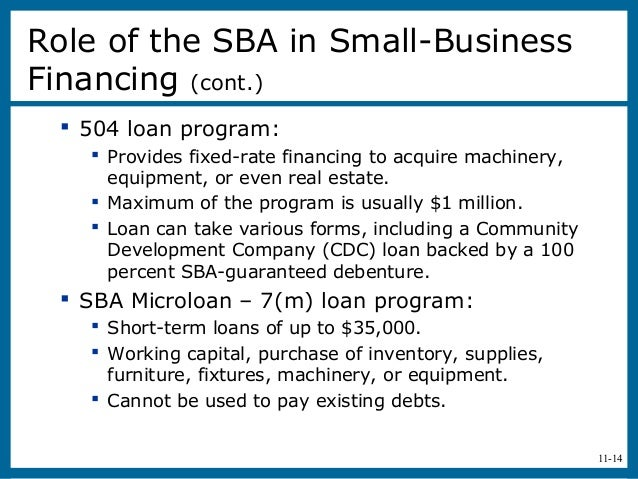 11-14 504 loan program: Provides fixed-rate financing to acquire machinery,equipment, or even real estate. Maximum of t...