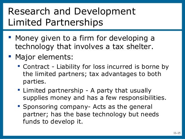 11-15Research and DevelopmentLimited Partnerships Money given to a firm for developing atechnology that involves a tax sh...