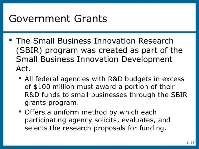 11-18Government Grants The Small Business Innovation Research(SBIR) program was created as part of theSmall Business Inno...