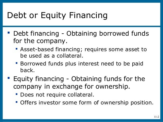 11-2Debt or Equity Financing Debt financing - Obtaining borrowed fundsfor the company. Asset-based financing; requires s...