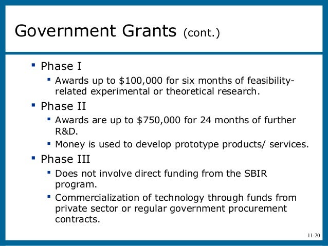11-20 Phase I Awards up to $100,000 for six months of feasibility-related experimental or theoretical research. Phase I...