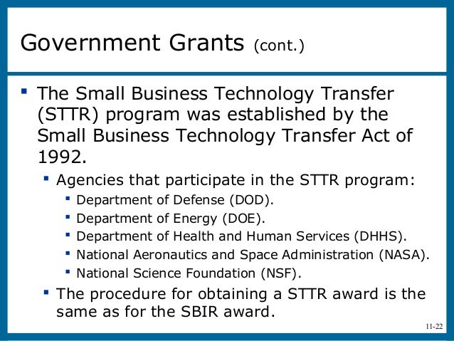 11-22 The Small Business Technology Transfer(STTR) program was established by theSmall Business Technology Transfer Act o...
