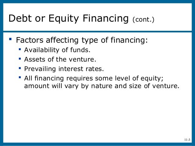 11-3 Factors affecting type of financing: Availability of funds. Assets of the venture. Prevailing interest rates. Al...