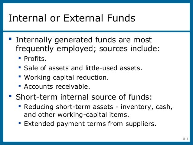11-4Internal or External Funds Internally generated funds are mostfrequently employed; sources include: Profits. Sale o...