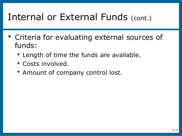 11-5 Criteria for evaluating external sources offunds: Length of time the funds are available. Costs involved. Amount ...