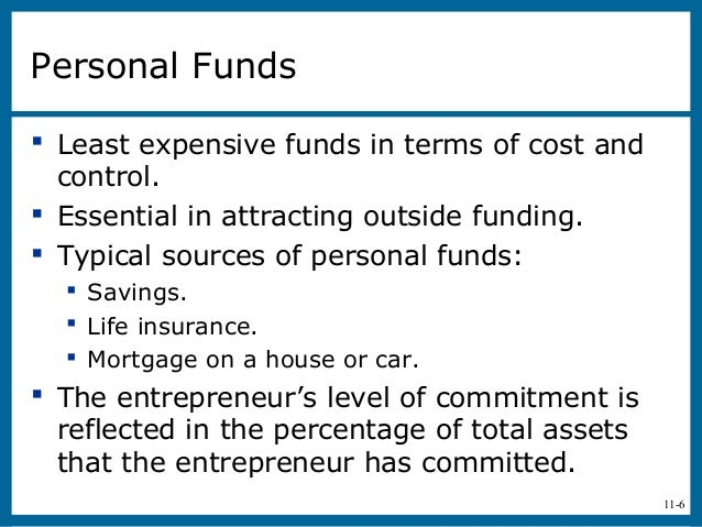 11-6Personal Funds Least expensive funds in terms of cost andcontrol. Essential in attracting outside funding. Typical ...