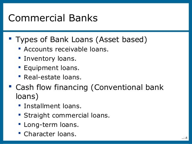 11-8Commercial Banks Types of Bank Loans (Asset based) Accounts receivable loans. Inventory loans. Equipment loans. R...