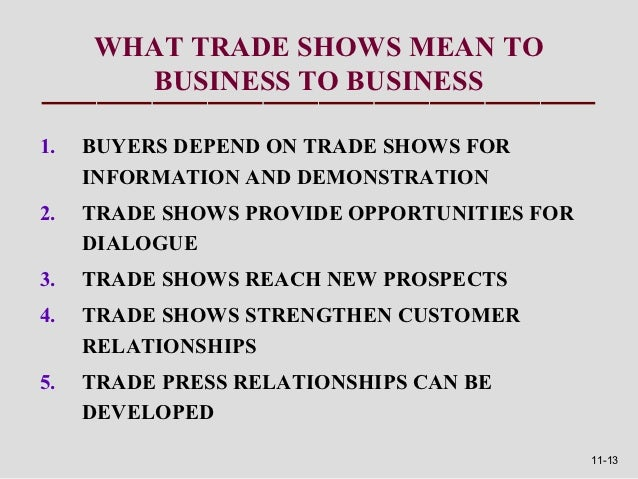 WHAT TRADE SHOWS MEAN TO       BUSINESS TO BUSINESS1.   BUYERS DEPEND ON TRADE SHOWS FOR     INFORMATION AND DEMONSTRATION...