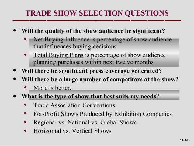 TRADE SHOW SELECTION QUESTIONS•   Will the quality of the show audience be significant?    • Net Buying Influence is perce...