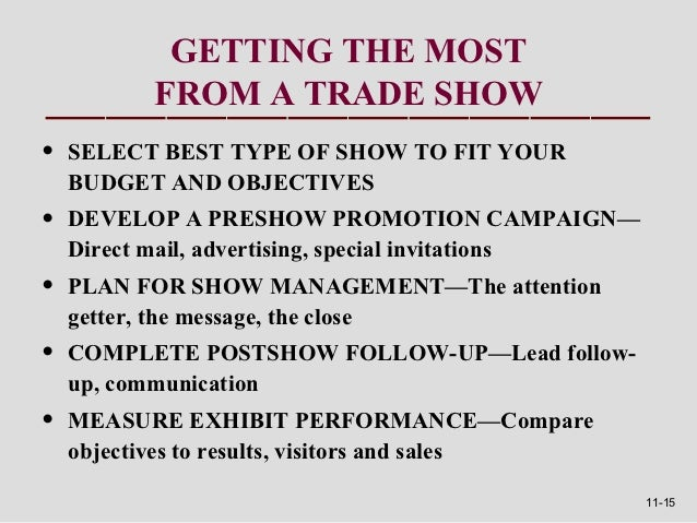 GETTING THE MOST          FROM A TRADE SHOW•   SELECT BEST TYPE OF SHOW TO FIT YOUR    BUDGET AND OBJECTIVES•   DEVELOP A ...