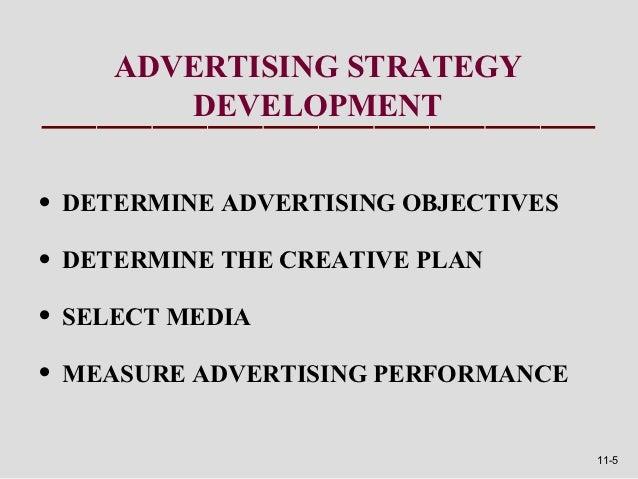 ADVERTISING STRATEGY       DEVELOPMENT• DETERMINE ADVERTISING OBJECTIVES• DETERMINE THE CREATIVE PLAN• SELECT MEDIA• MEASU...