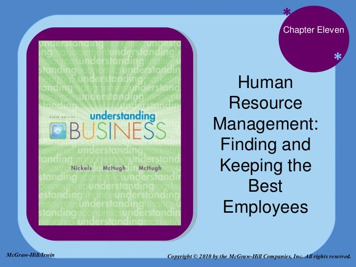 * * Chapter Eleven Human Resource Management: Finding and Keeping the Best Employees Copyright © 2010 by the McGraw-Hill C...