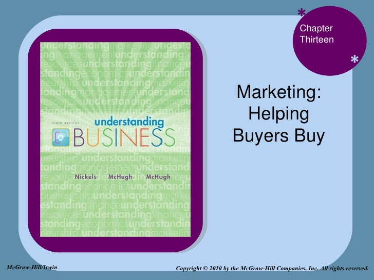 * * Chapter Thirteen Marketing: Helping Buyers Buy Copyright © 2010 by the McGraw-Hill Companies, Inc. All rights reserved...