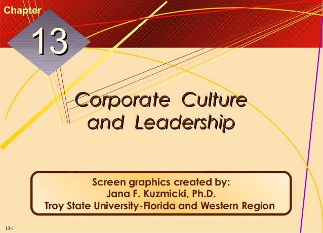 Chapter  13 Corporate Culture and Leadership Screen graphics created by: Jana F. Kuzmicki, Ph.D. Troy State University-Flo...