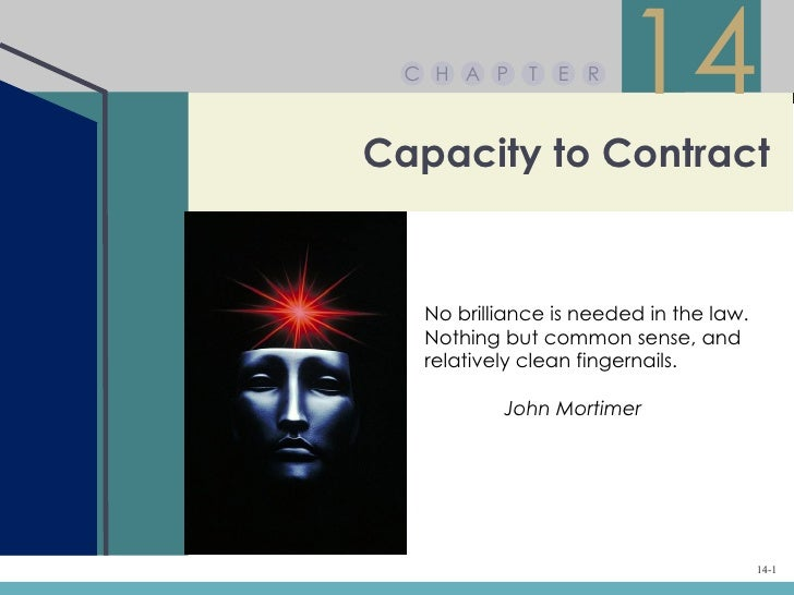 C H A P     T   E R                        14Capacity to Contract   No brilliance is needed in the law.   Nothing but comm...