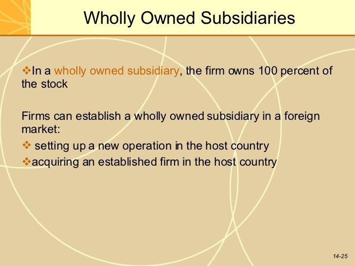 define wholly owned subsidiary