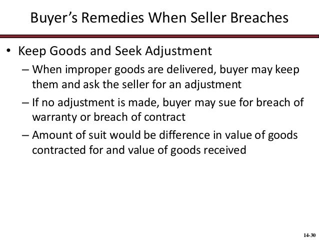 remedies of the buyer where the seller is in breach of contract essay Seller breach tender of non-conforming goods 2-712 cover - (1)buyer may cover by good faith, reasonable purchase (timing and price) to substitute, and.
