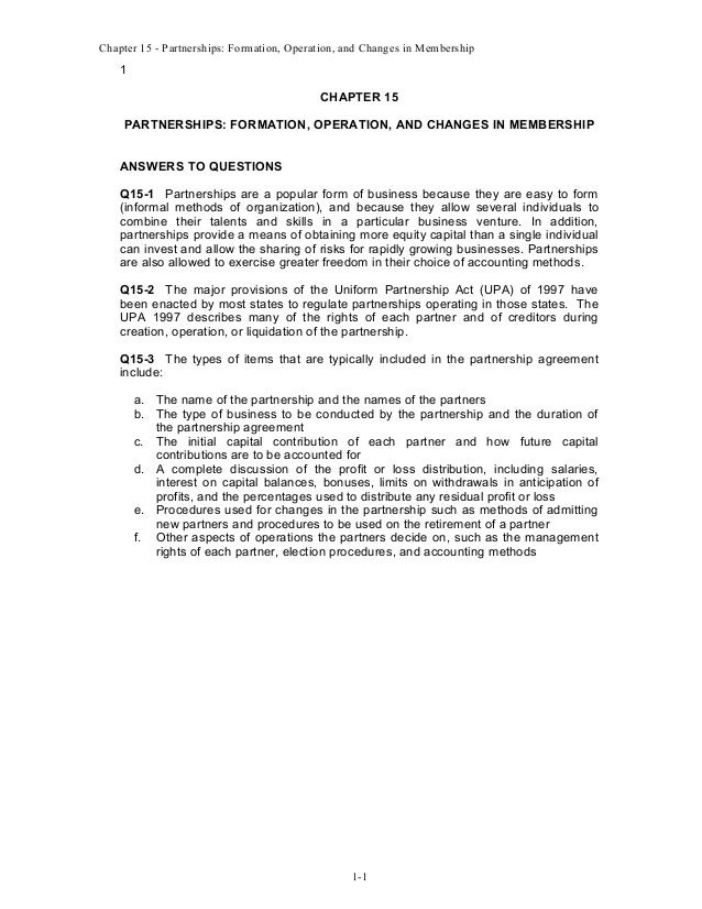Chapter 15 - Partnerships: Formation, Operation, and Changes in Membership  1 CHAPTER 15 PARTNERSHIPS: FORMATION, OPERATIO...