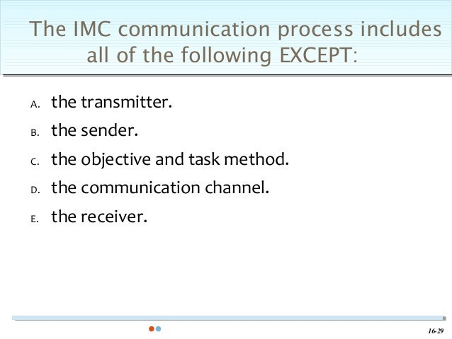 the communication process includes all of the following except