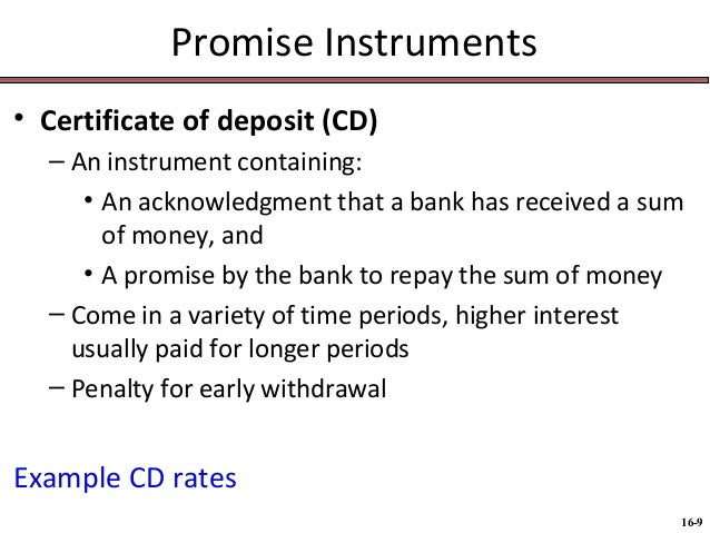 Bus 116 chap016 negotiable instruments 9 promise instruments certificate of deposit yelopaper Choice Image